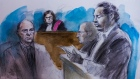 A court sketch from the sentencing hearing of a fatal drunk driving incident shows Defence lawyer Ed Prutschi, Justice Maria Speyer, Crown Malcolm Savage and the driver, Matthew Habte, on May 20, 2016. (Pam Davies)