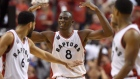 Toronto Raptors centre-forward Bismack Biyombo (8) celebrates his dunk with teammates Cory Joseph (6) and Kyle Lowry during fourth quarter Eastern Conference final NBA playoff basketball action against the Cleveland Cavaliers in Toronto on Saturday, May 21, 2016. )Frank Gunn / THE CANADIAN PRESS)