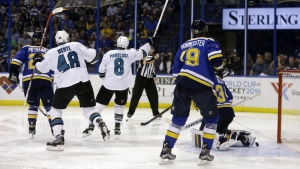 San Jose Sharks centre Joe Pavelski celebrates after scoring a goal during the third period in Game 5 of the NHL hockey Stanley Cup Western Conference finals against the St. Louis Blues in St. Louis on Monday, May 23, 2016. (AP / Jeff Roberson)