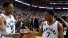 Toronto Raptors' DeMar DeRozan and teammate Toronto Raptors guard Kyle Lowry (7) celebrate winning over the Cleveland Cavaliers in Eastern Conference final NBA playoff basketball action in Toronto on Monday, May 23, 2016. (Frank Gunn / THE CANADIAN PRESS)