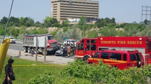 One person has died after a collision in north Etobicoke involving a vehicle and a dump truck on Tuesday, May 24, 2016.