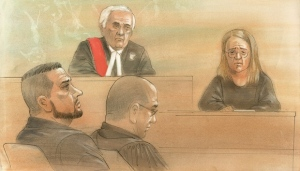Sammy Yatim's mother is seen in this court sketch from the sentencing hearing of Const. James Forcillo on May 25, 2016. (John Mantha)
