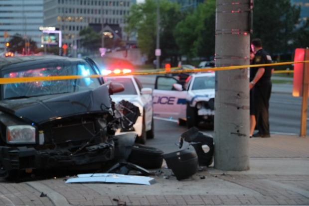 A damaged vehicle is seen in Mississauga after a crash following a police pursuit on Wednesday, May 25, 2016. (Peel police)