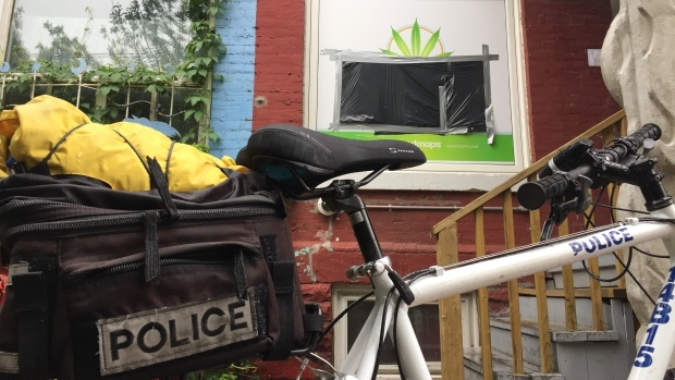 Police confirm they are executing search warrants at marijuana dispensaries in the city today. (Brian Carr/ CP24)