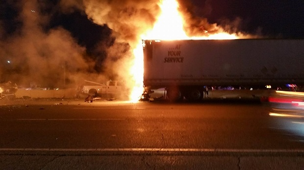 This photo was taken from the scene of a fatal collision on Highway 400 on Friday night. (Vicki Ferguson)