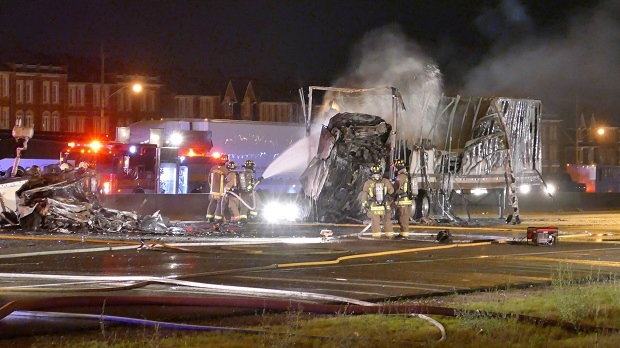 Police investigating truck driver in fiery crash that killed four in Toronto