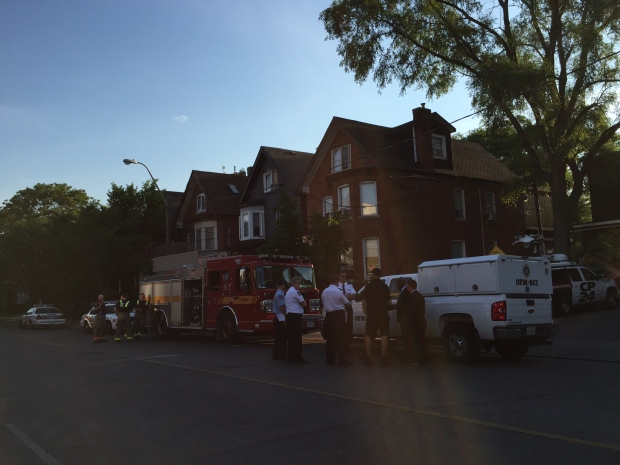 One man is in hospital after a house fire in Parkdale. (Arda Zakarian/ CP24)