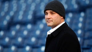 FILE - In a Friday, Dec. 30, 2011 file photo, former Philadelphia Flyers player Eric Lindros looks out from the stands at Citizens Bank Park in Philadelphia. He was selected to the Hockey Hall of Fame, on Monday, June 27, 2016. (AP Photo/Matt Rourke)