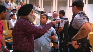 Security guards were asked to help remove taxi drivers from a June 27 meeting in Mississauga after they were being disruptive.