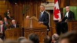 U.S. President Barack Obama addresses Parliament in the House of Commons in Ottawa as House Speaker Geoff Regan, right, looks on, Wednesday, June 29, 2016. (AP / Pablo Martinez Monsivais)