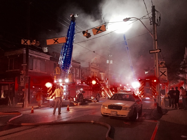 The Office of the Fire Marshal is investigating a five-alarm fire in the city's Trinity Bellwoods neighbourhood. (Mike Nguyen/ CP24)