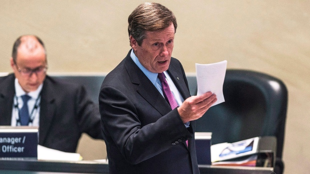 Mayor John Tory speaks in Toronto City Hall Chambers in this file file photo. THE CANADIAN PRESS/Aaron Vincent Elkaim