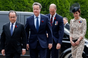 French President Francois Hollande, left, Britain's Prime Minister David Cameron, second left, Britain's Prince William and his wife Kate, the Duchess of Cambridge, arrive to a ceremony commemorating the centenary of the deadliest battle of WWI, Friday July 1, 2016 at the Thiepval WWI cemetery, northern France. (Philippe Wojazer, Pool via AP)