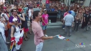 Trudeau marched in the Toronto Pride Parade on July 3, 2016. He blew kisses to the crowd and waved a rainbow flag.