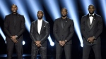 NBA basketball players Carmelo Anthony, from left, Chris Paul, Dwyane Wade and LeBron James speak on stage at the ESPY Awards at the Microsoft Theater in Los Angeles on Wednesday, July 13, 2016. (Chris Pizzello / Invision)