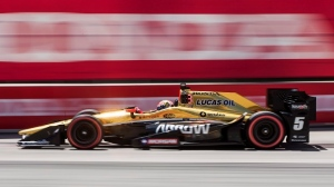 Canada's James Hinchcliffe drove to a sixth place finish during qualifying rounds for the Honda Indy in Toronto on Saturday, July 16, 2016. (THE CANADIAN PRESS/Mark Blinch)