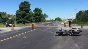 The scene of a motorcycle crash is being investigated on July 23, 2016. (Twitter/OPP)