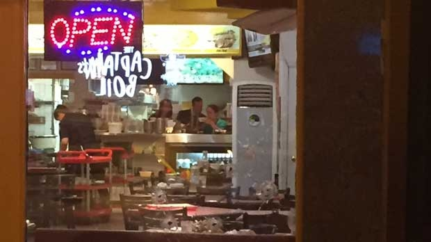 One person is in hospital after a shooting outside The Famous Owl of Minerva in North York. (Mike Nguyen/ CP24)
