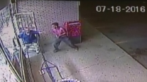 "In this video surveillance footage from Park's Convenience in Brampton, store owner Si ""Tom"" Lee is seen chasing a would-be thief out of the store."