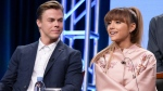 """Derek Hough, left, and Ariana Grande participate in the """"Hairspray Live!"""" panel during the NBC Television Critics Association summer press tour in Beverly Hills, Calif. on Tuesday, Aug. 2, 2016. (Richard Shotwell / Invision)"""