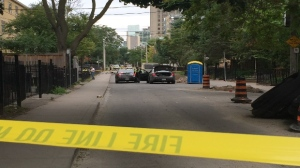 The area around George and Gerrard streets were closed off while officers investigated a fatal hit-and-run in downtown Toronto on Monday, Aug. 15, 2016. (CP24/Jackie Crandles)