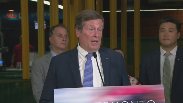 Mayor Tory made an announcement about funding for transit infrastructure in Toronto at the St. Clair subway station on Aug. 23, 2016.