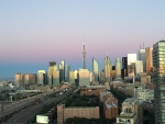 sunset skyline, toronto skyline