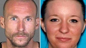 This photo combination shows Joshua Robertson and Brittany Humphrey, who authorities are seeking in connection with the killing of Kimberly Harvill and kidnapping of her three small children. (Los Angeles County Sheriff's Department)