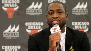 Chicago Bulls player Dwyane Wade speaks during a news conference in Chicago on July 29, 2016, file photo.  (AP /Tae-Gyun Kim)