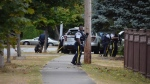 A Surrey neighbourhood is under lockdown Saturday evening as armed police officers negotiate with a male suspect inside a residential home. (CTV News). Aug. 27, 2016.
