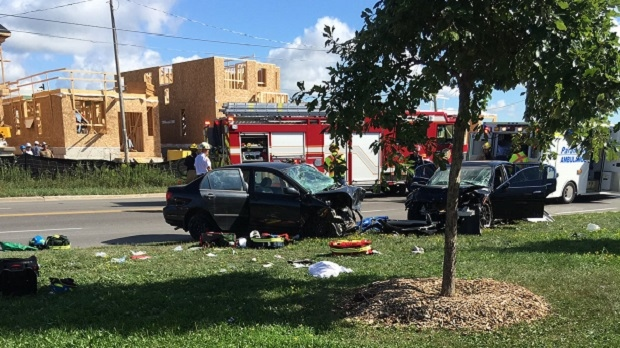 A photo tweeted at CTV Toronto shows a serious multi-vehicle collision in Markham on August 29, 2016. (@JessCaro1320/Twitter)