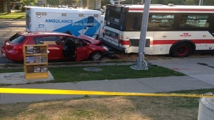 One person is dead and two were injured after a collision involving a TTC bus in Scarborough. (Cam Woolley/ CP24)