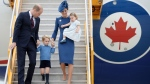 The Duke and Duchess of Cambridge, along with their children Prince George and Princess Charlotte step off the plane as they arrive in Victoria, B.C., Saturday, Sept 24, 2016. (THE CANADIAN PRESS / Jonathan Hayward)