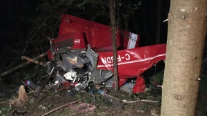 The wreckage of an ultralight plane that crashed, killing its pilot, is seen outside Guelph on Sept. 24. (Abiey Lema)