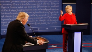 Republican presidential nominee Donald Trump and Democratic presidential nominee Hillary Clinton speak at the same time during the presidential debate at Hofstra University in Hempstead, N.Y., Monday, Sept. 26, 2016. (Rick T. Wilking/Pool via AP)