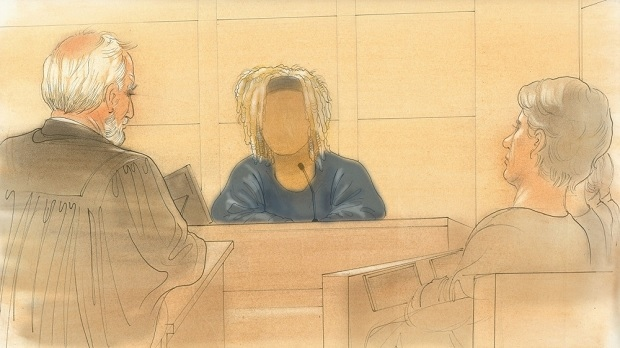 This court sketch shows a witness speaking during the trial. (John Mantha)