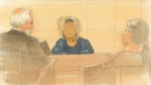 This court sketch shows a witness speaking during the Shakeil Wheatle trial on Sept. 27. (John Mantha)