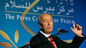 Israeli President Shimon Peres speaks during the 10th anniversary celebration of the Peres Center for Peace in Tel Aviv, Israel. Shimon Peres, a former Israeli president and prime minister, whose life story mirrored that of the Jewish state and who was celebrated around the world as a Nobel prize-winning visionary who pushed his country toward peace, has died, the Israeli news website YNet reported early Wednesday, Sept. 28, 2016. He was 93. (AP Photo/Ariel Schalit, File)