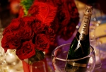 A bottle of Moet and Chandon champagne is seen on the table during a preview of the Governors Ball for the 83rd annual Academy Awards in Los Angeles on Wednesday, Feb. 9, 2011. (AP Photo/Matt Sayles)