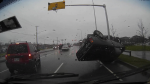 Dashcam video shows Edward Joseph Biwer crashing a carjacked pickup truck with the pregnant owner inside on the Fraser Highway in Surrey. Dec. 23, 2014. (CTV)
