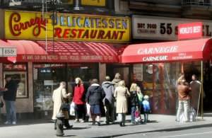 This April 6, 2004 file photo shows the exterior of the Carnegie Deli and Restaurant in New York. (AP Photo/Bebeto Matthews, File)