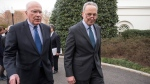 Sen. Patrick Leahy, D-Vt., left, and Sen. Chuck Schumer, D-N.Y., right, depart the White House, in Washington, on March 16, 2016. (J. Scott Applewhite / AP)