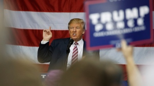 Republican presidential candidate Donald Trump at the Delaware County Fair, on Oct. 20, 2016, in Delaware, Ohio. (Evan Vucci / AP)