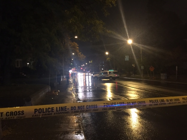Police tape is visible after a woman was fatally struck by a vehicle in the Eglinton Avenue and Hanna Road area on Thursday, Oct. 20, 2016. (CP24/Courtney Heels)