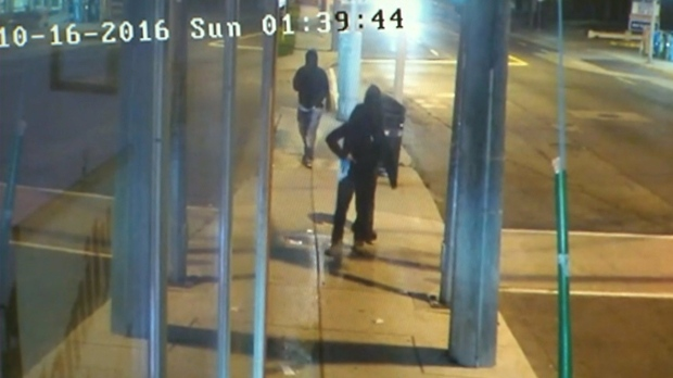Three suspects in the murder of 17-year-old Jarryl Hagley are seen in surveillance footage from Oct. 16. (Toronto Police)