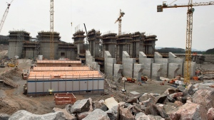 The construction site of the hydroelectric facility at Muskrat Falls, Newfoundland and Labrador is seen on Tuesday, July 14, 2015. (Andrew Vaughan / THE CANADIAN PRESS)