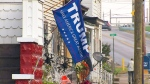 A flag supporting Republican presidential nominee Donald Trump on a house front in Belmont county, Ohio. (CTV)