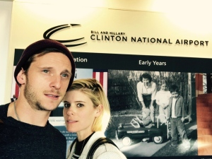 Actors Kate Mara and Jamie Bell said on Twitter that they were on the American Airlines flight that made an emergency landing in Little Rock after a suspicious odour was reported in the cabin. Bell tweeted a photo of the pair at the airport. (Jamie Bell/Twitter)