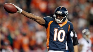 Denver Broncos wide receiver Emmanuel Sanders (10) signals first down during the second half of an NFL football game against the Houston Texans, on Oct. 24, 2016. (Joe Mahoney / AP)