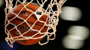 The NBA All-Star Game logo is seen on a net in New York, on Feb. 13, 2015. (Julio Cortez / AP)